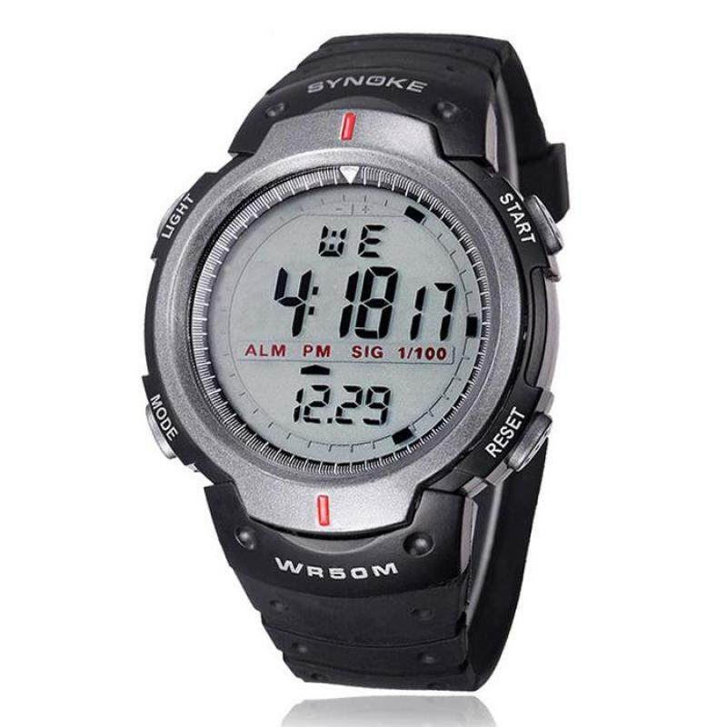 Waterproof Outdoor Sports Men Digital LED Quartz Alarm Wrist Watch Grey Malaysia