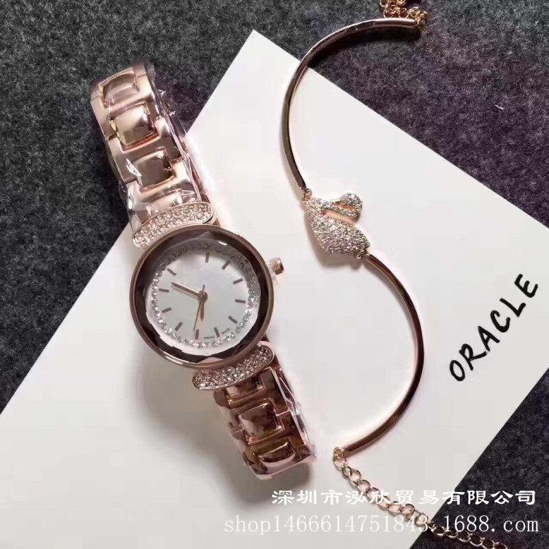 WeChat hot strip diamond bracelet collocation fashion Swan two piece Ladies Watch Bracelet spot second hair Malaysia
