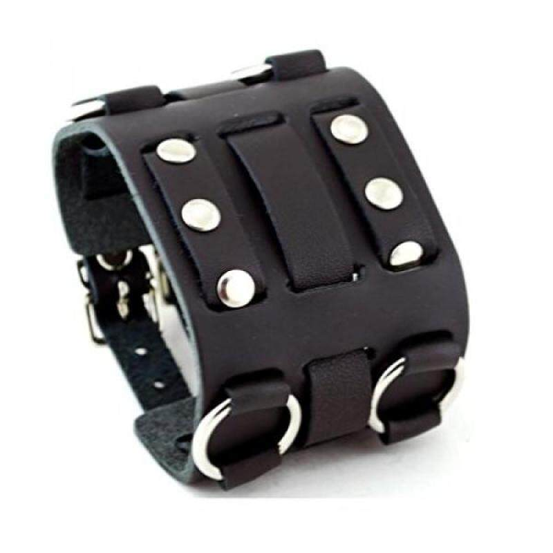 Wide Black Leather Tri Clasp Cuff Wrist Watch Band Rock Bracelet Cuff Cool By United Watchbands Malaysia