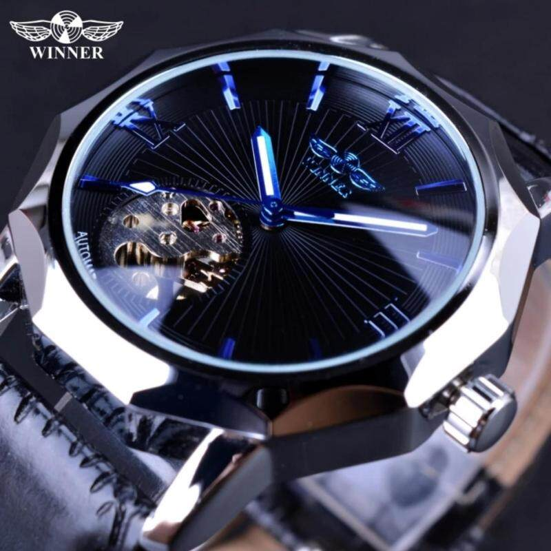 Winner Blue Ocean Geometry Design Transparent Skeleton Dial Men Watch Top Brand Luxury Automatic Fashion Mechanical Watch Clock Malaysia
