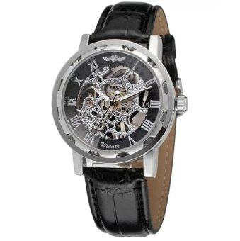 Harga Winner Men Automatic Mechanical Leather Straps Watch (Sliver)