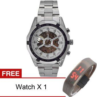Harga WINNER Men Skeleton Dial Automatic Mechanical Stainless Steel Watch(White)