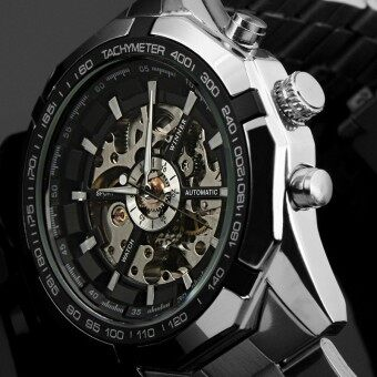 Harga Winner Stainless Steel Case and Leather Strap Men Male Fashion Business Sport Casual Skeleton Automatic Mechanical Wrist Watch - Black Face with Silver Case
