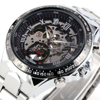 Harga WINNER Stainless Steel Case and Leather Strap Men Male Fashion Business Sport Casual Skeleton Automatic Mechanical Wrist Watch - Black + Silver