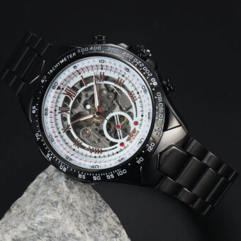 Harga WINNER Stainless Steel Case and Leather Strap Men Male Fashion Business Sport Casual Skeleton Automatic Mechanical Wrist Watch - Black Strap + White Face + Rose