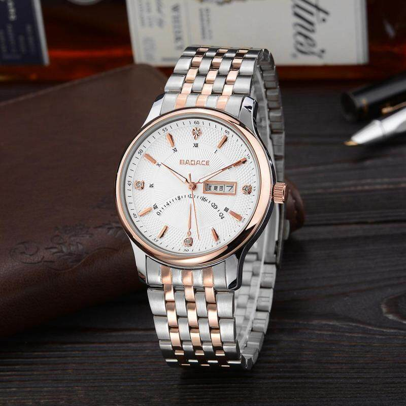 Womdee A point on behalf of Geneva white rose gold watch strap quartz watch men simple luxury watches wholesale (White) Malaysia