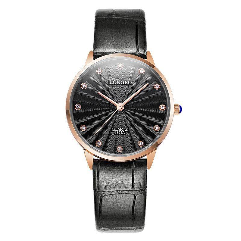 Womdee LONGBO dragon wave of men and women watch a couple of tables of simple and elegant fashion waterproof leather belt buckle type table (Black) Malaysia