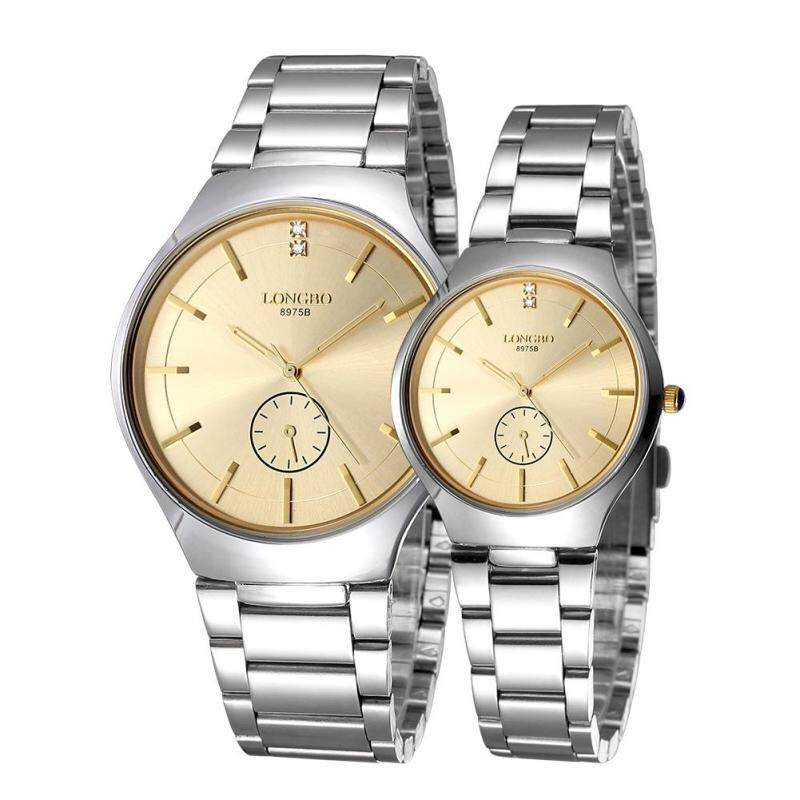 Womdee LONGBO imported from Japan movement fashion simple dial stainless steel strap couple watches (Gold) Malaysia