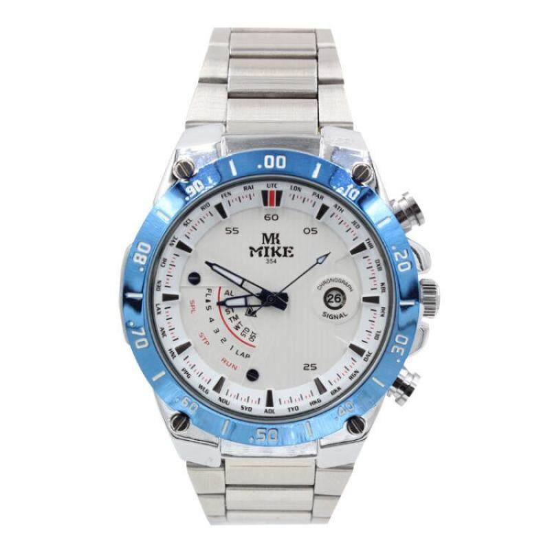 Womdee Meters (Mike) watches genuine cool Mens watch fashion waterproof strip Mens Watch classic dials 354 flour blue edge strip (White) Malaysia