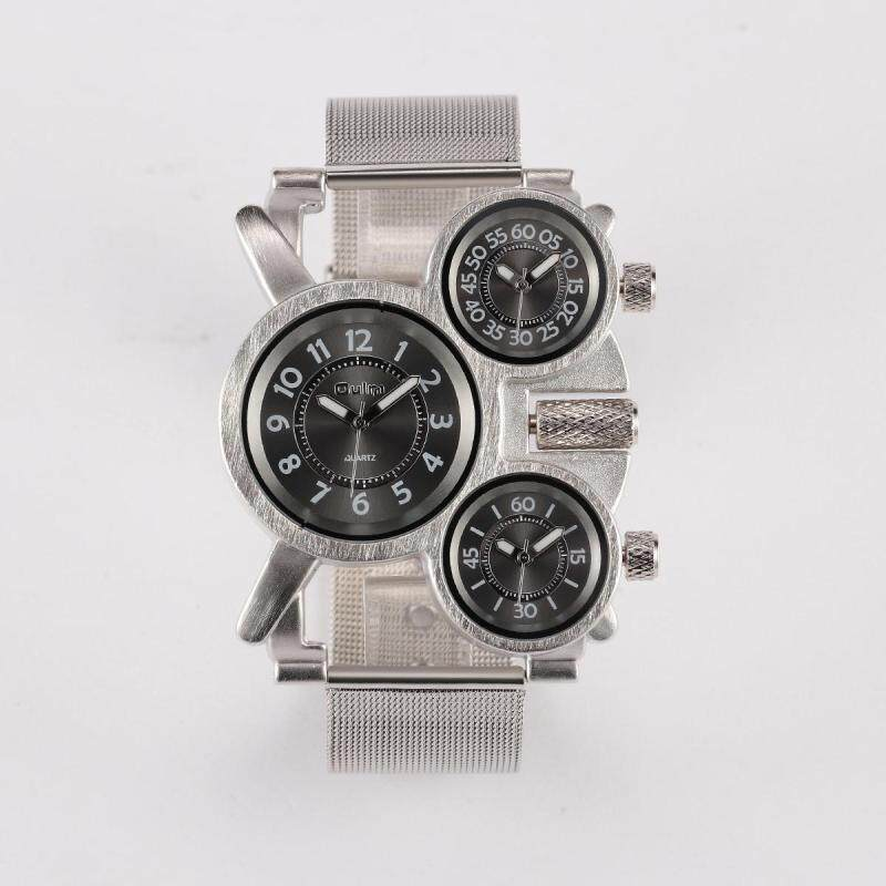 Womdee OULM Europe radium mens watches wholesale / ebay trade selling watches / time zones / alloy bracelet (silver) Malaysia