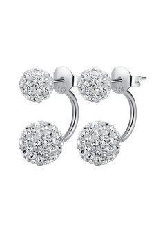 Women Double Ball Rhinestone Pendant Ear Jacket Ear Stud JewelryEarrings Decoration Silver