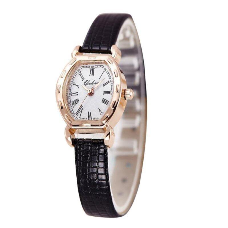 Women Elegant Leather Retro Quartz Clock Wrist Watches (Black) Malaysia
