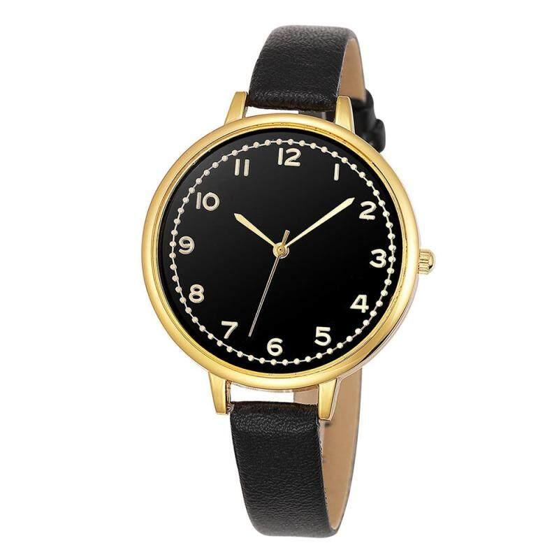 Women Fashion Fine Belt Ladies Gold Shell Small Numbers Quartz Watch Black Malaysia