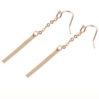 Women Gold Plated Long Dangle Drop Chain Hook Earrings