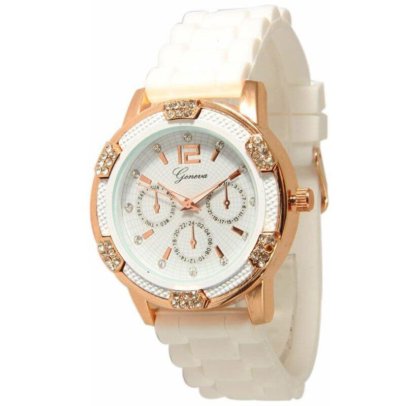 Womens White Rose Gold Chronograph Silicone with Crystal Rhinestones (White) Malaysia