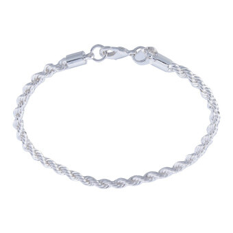 Harga Womens Jewelry Twisted Rope Charm Chain Bangle Bracelet(Silver)