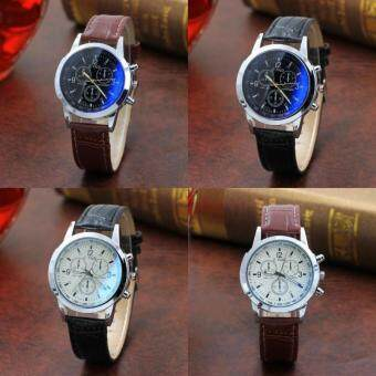 quartz ray men analog blue brown faux pp leather watches s glass