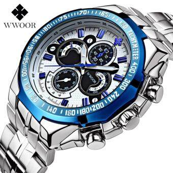 Harga WWOOR Men Watches Birthday Gift Luxury Full Stainless Steel Wristwatch Men Clock Military Watches Male Luminous Quartz Watches Waterproof Sports Watch 8013