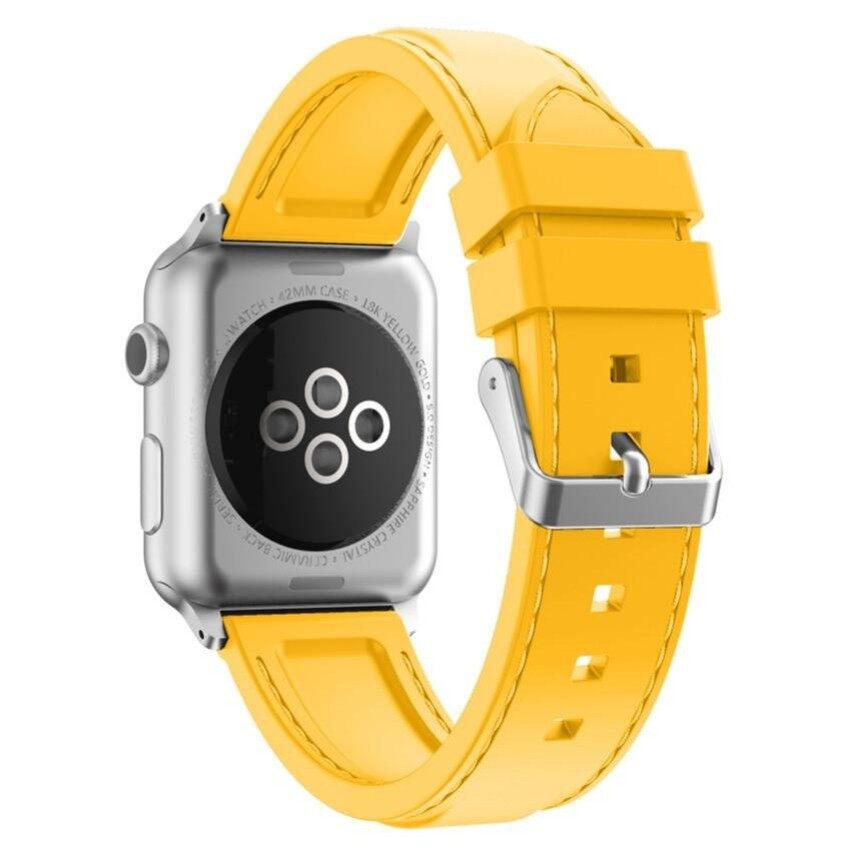 SOUTH RISE Xumu Apple watch Series 1 Series 2 38mm Soft Silicone LineStitching Sport Band For Nike Apple Watch Series 1 Series 2 iWatchSport Edition Replacement Strap Wristband (Yellow) - intl