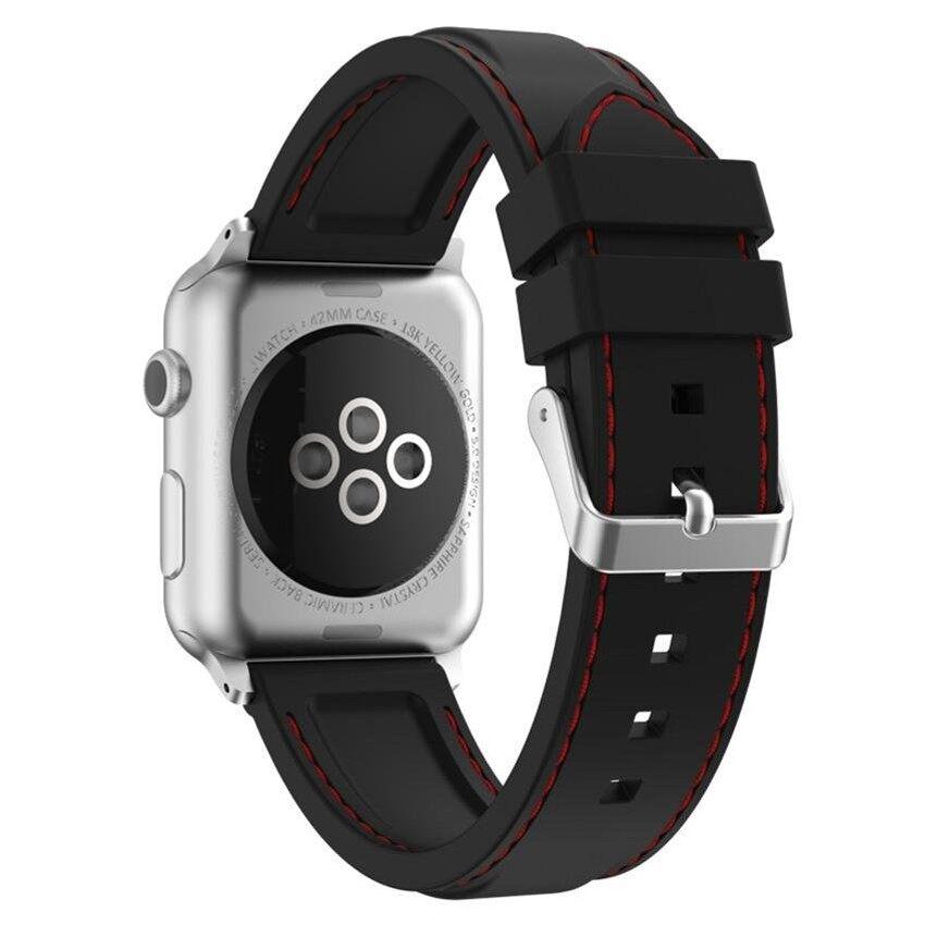 Hua Si Hai-Xumu Apple Seri 1 Seri 2 42 Mm Lembut Silikon Linestitching Olahraga Tali untuk Nike apple Seri 1 Seri 2 Iwatchsport Edisi Penggantian Tali Bagian Manset Lengan Kemeja (Hitam Merah) -Internasional