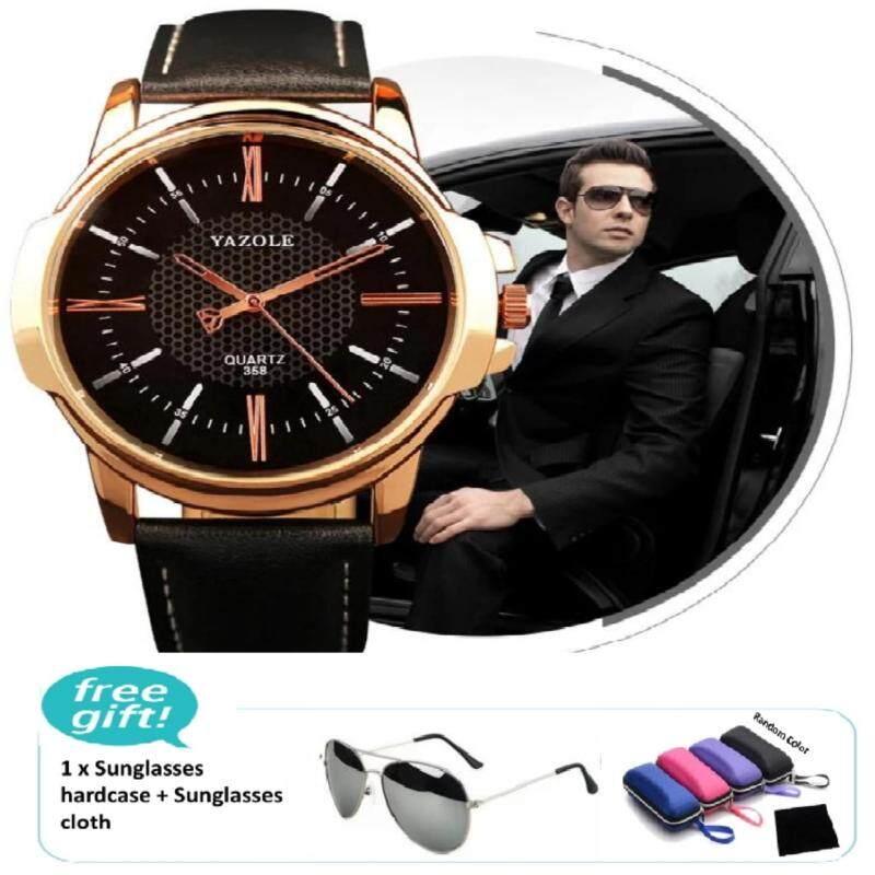 Yazole Luxury Famous Men Leather Watch Male Clock (Black) free iShade Sunglasses Classic Coating Shades Designer Sunglasses (Silver) Malaysia