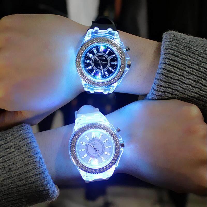 YBC 1 Pair Couple LED Luminous Watch Fashion Silicon Diamond Jelly Watch Malaysia