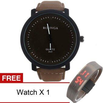 Yika Stainless Steel Leather Band Quartz Wrist Watch (Coffee+Black)[Buy 1 Get Freebie]