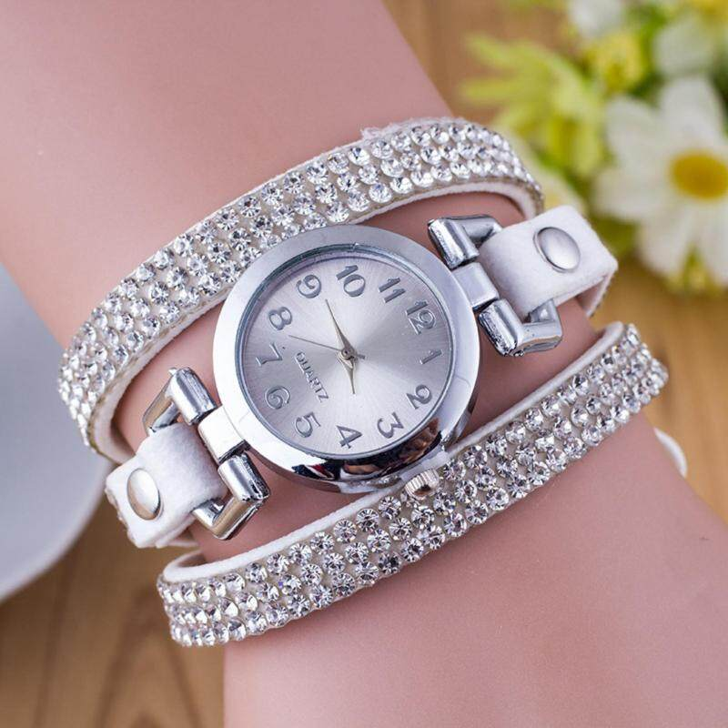 YingWei  Fashion Women Lady Waterproof Rhinestone Quartz Roma Bracelet Watch Sliver Malaysia