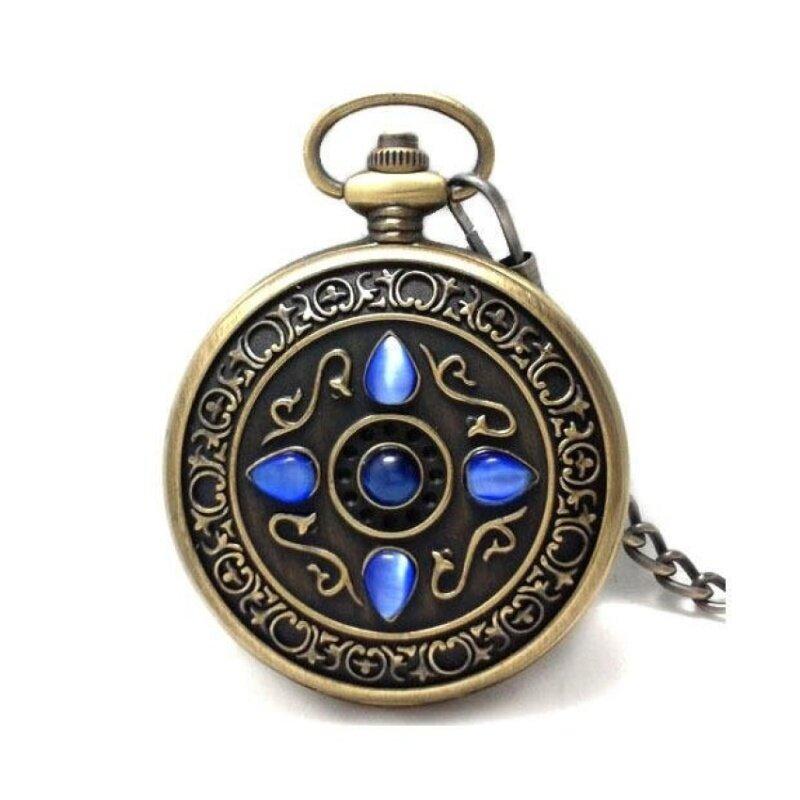 yiokmty Watch authentic retro European watch lucky stone five catstone watch men Rome Mechanical Pocket Watch (Blue) Malaysia