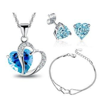 Harga YOUNIQ Aegean Sea 925 Sterling Silver Necklace Pendant With BlueCubic Zirconia, Earrings and Bracelet Set