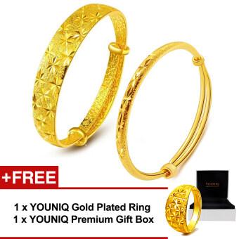 YOUNIQ Premium Classical & Slim Classical 24K Gold Plated Bangle Set Free YOUNIQ Gold Plated Ring