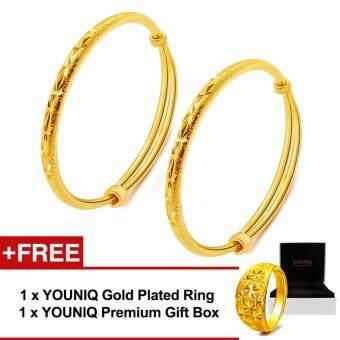 YOUNIQ Premium Slim Classical 24K Gold Plated 2 Units Bangle Set Free YOUNIQ Gold Plated Ring