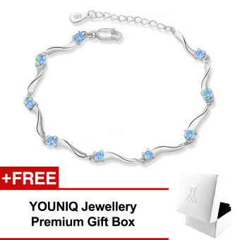 Harga YOUNIQ Rock Stars 925 Sterling Silver Bracelet with Cubic Zirconia(Blue)
