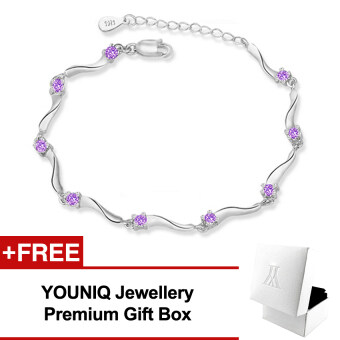 Harga YOUNIQ Rock Stars 925 Sterling Silver Bracelet with Cubic Zirconia(Purple)
