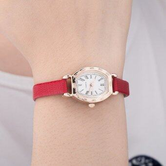 Yuhao High Quality RED Leather Strap Watch Roman Numerals Quartz Watch