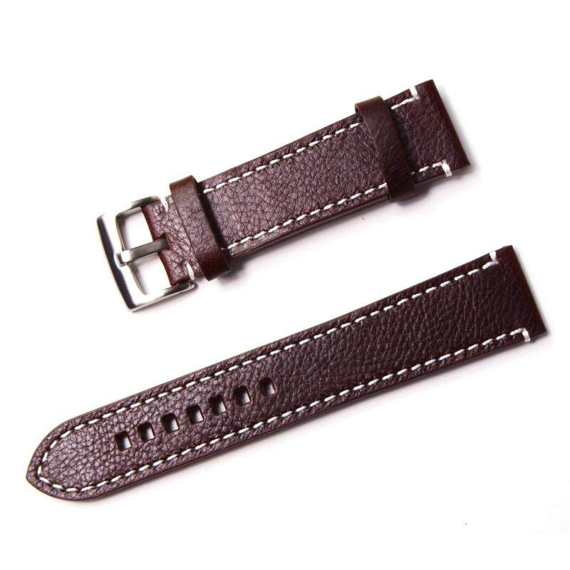 YY 22mm Genuine Leather Women Mens Watch Bracelet Strap Watches Belt Band Stainless Steel Buckle Watch Band Accessories Watchbands Black Brown Chocolate Malaysia