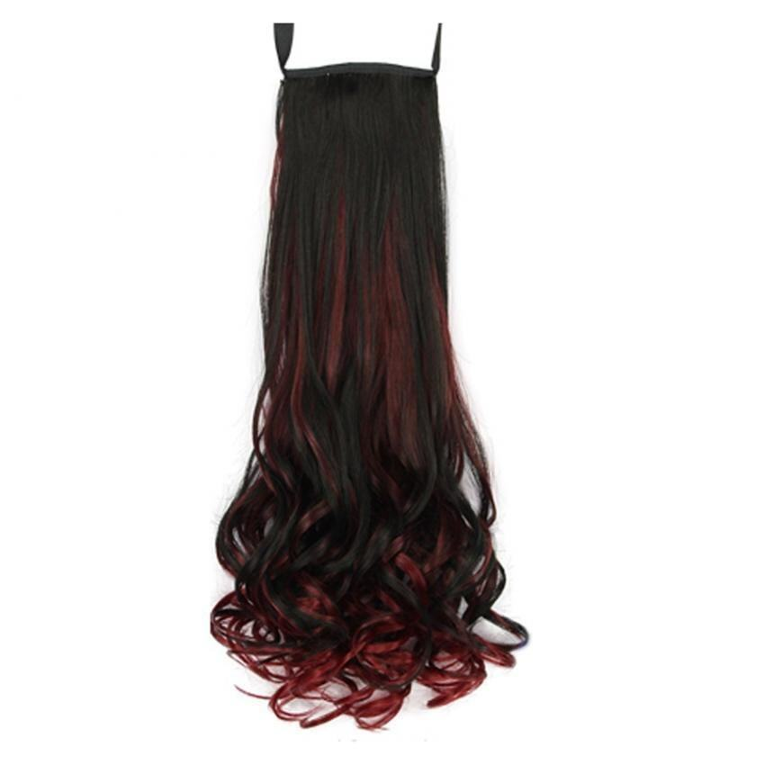 Colorful High Temperature Long Wave Curly Wig Cosplay Ponytail Wig Black_wine Merah